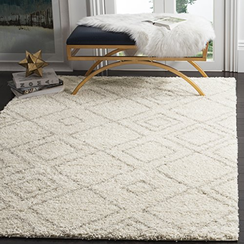 Safavieh Arizona Shag Collection ASG744A Southwestern Diamond Geometric Ivory and Beige Area Rug (8' x 10') by Safavieh