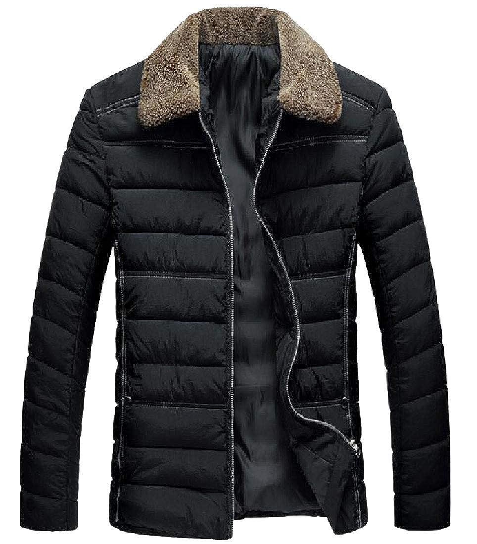 Keaac Mens Warm Lapel Fur Collar Long Sleeve Down Puffer Coat Jacket
