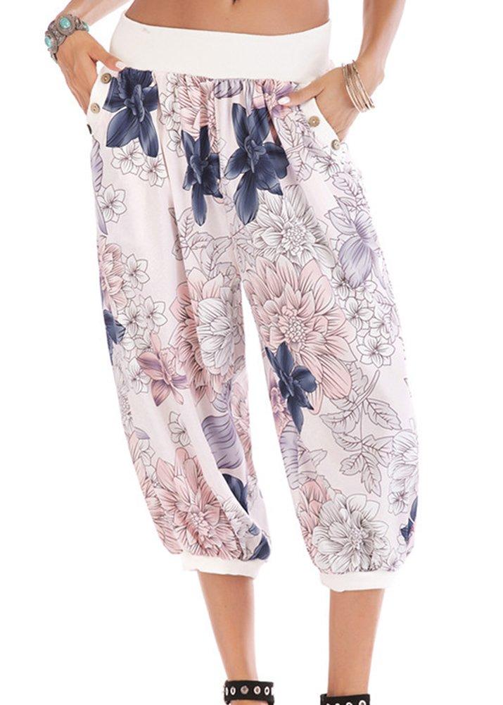 Smibra Womens Stretch Mid Waist Wide Leg Floral Printed Casual Capri Harem Pants