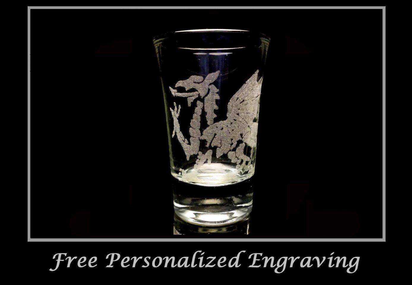Welsh Dragon Shot Glass - Free Personalized Engraving, 2oz Shot Glass, Dragon Shot Glass, Wedding Favor Shot Glass