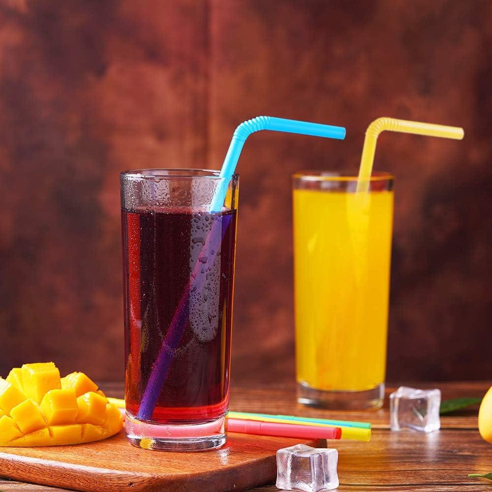 500 Pcs Colorful Disposable Plastic Flexible Straws. 0.23 diameter and 7.7 long
