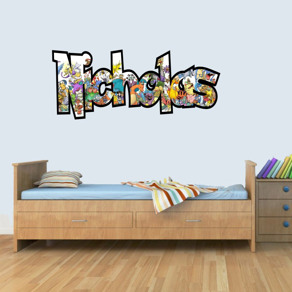 GNG Customisable Pokemon Childrens Name Wall Art Decal Vinyl Stickers for Boys/Girls Bedroom L