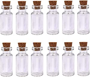 LEFV 2ml Small Bottles Transparent Mini Glass Jars with Cork Stoppers Top - Message Weddings Wish Jewelry Pendant Charms Kit Party Favors - Pack of 12