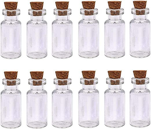 Miniature Empty Sample Jars LEFV/™ 25 Mini Glass Bottles 1-inch Message Treasure Charm Pendant Kit Makes Bottle Pendants 1ml Clear Vials with Corks /& 25pcs Eye Screws