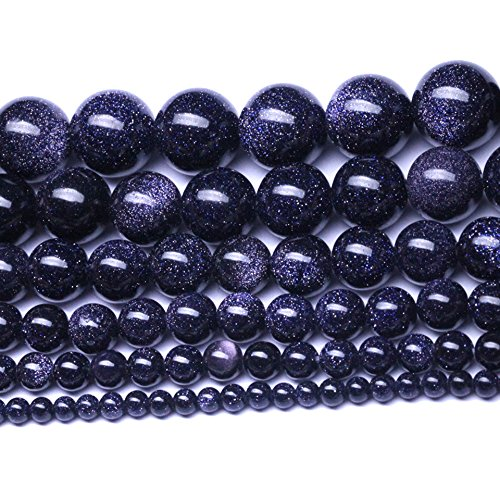 (Natural Crystal Blue Sand Stone Gemstone Round Loose Beads - Semifinished Starry Stone - DIY Handmade Spacer Beaded for Bracelet Necklace Earrings Jewelry Accessories (Diameter 8mm))