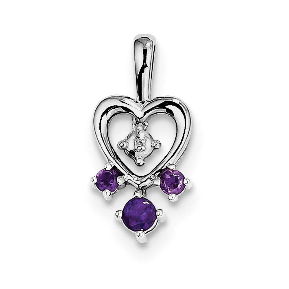 JOlivers Sterling Silver Amethyst Diamond Pendant