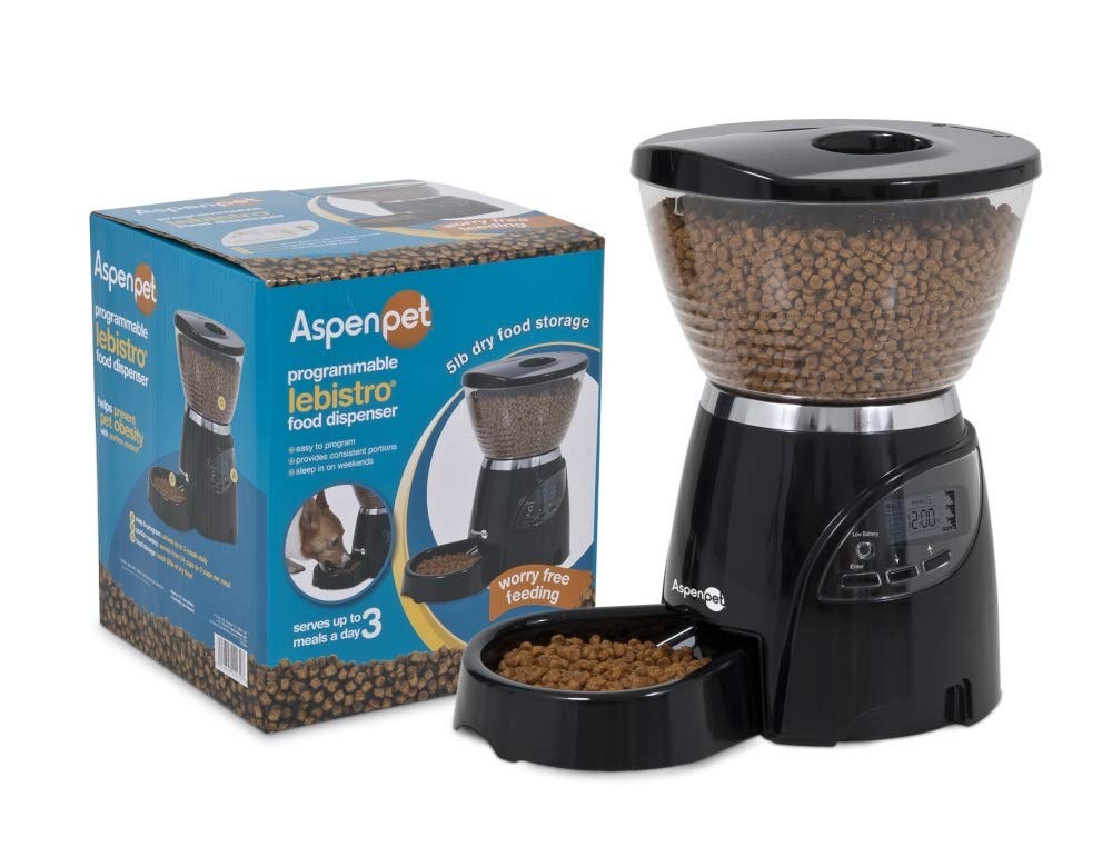 Aspen Pet Lebistro Programmable Cat and Dog Feeder 2 Sizes Black by Petmate (Image #3)