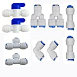 "Neeshow 1/4"" OD Quick Connect Push In to Connect Water Tube Fitting Pack Of 10 (Ball Valve+Y+T+I+L Type Combo)"