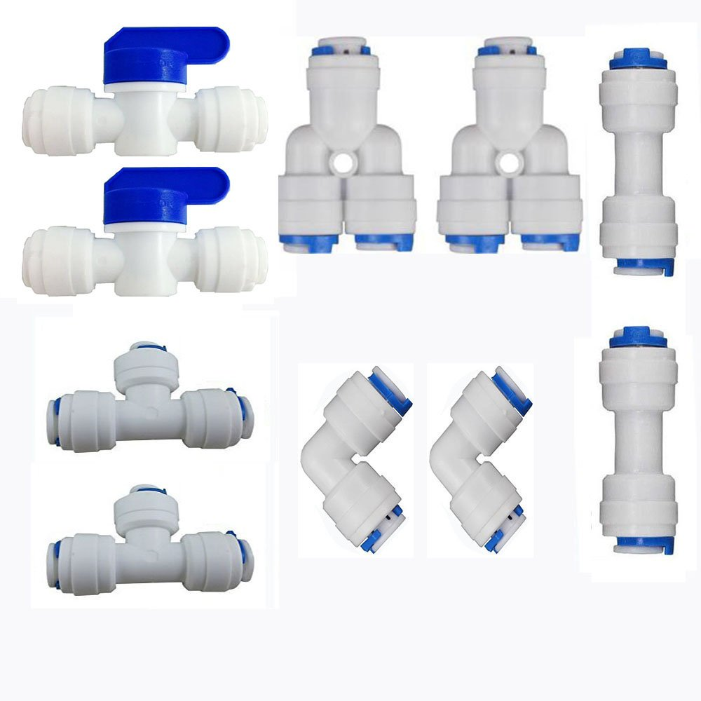Tulead Push to Quick Connect 1//4 OD Tube Fitting T-Shape Quick Connector Water Purifiers Connect Fitting 3 Way 20pcs