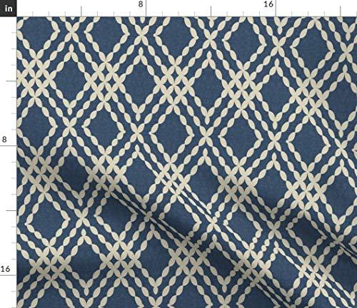 Indigo Fabric - Indigo Cream Trellis Indigo Lattice Trellis Beaded Stripe Sparrowsong Navy Print on Fabric by The Yard - Sport Lycra for Swimwear Performance Leggings Apparel Fashion
