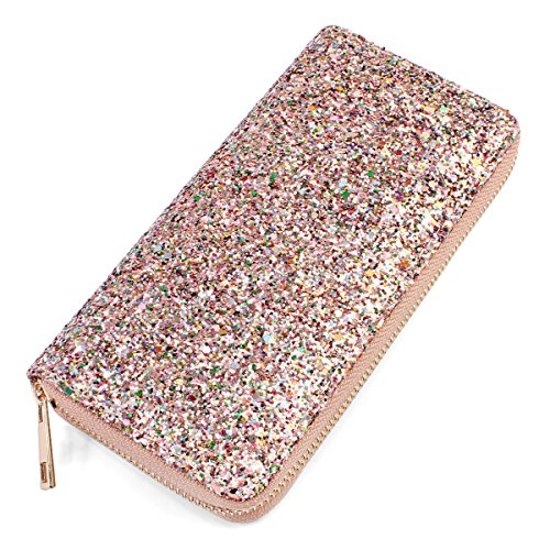 RIAH FASHION Rainbow Glitter Zip Around Wallet - Sparkly Confetti Single Zipper Clutch Purse with Card Slots (Rainbow - ()
