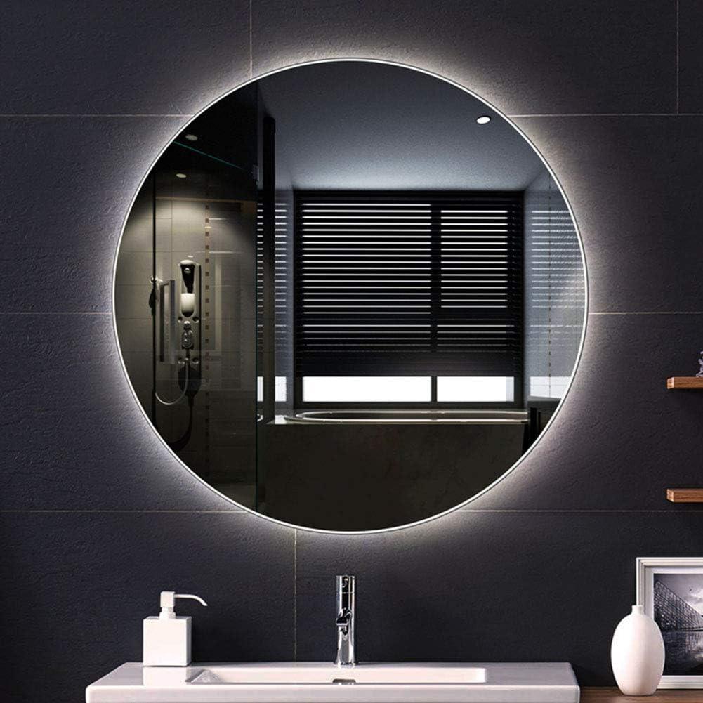 Amazon Com 80cm Mirror Backlight Round Led Illuminated Bathroom Mirror Frameless Makeup With Light Mirror Home Kitchen