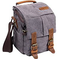 Wowbox Waterproof Canvas Camera Bag Genuine Leather Trim DSLR SLR Shockproof Camera Shoulder Messenger Bag Vintage Outdoor Travel Sling Bag (Gray)