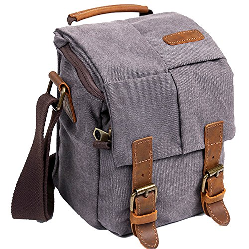 Price comparison product image Wowbox Waterproof Canvas Camera Bag Genuine Leather Trim DSLR SLR Shockproof Camera Shoulder Messenger Bag Vintage Outdoor Travel Sling Bag (Gray)