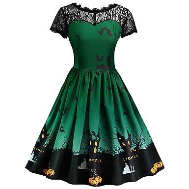 New Women Fashion Casual Short Sleeve Halloween Retro Lace Vintage Dress A Line Pumpkin Swing Dress