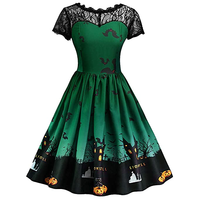 Lelili Women Vintage Halloween Party Dress Elegant Witch Printed Patchwork Flowy Swing A-Line Mini Prom Gown Dress at Amazon Womens Clothing store: