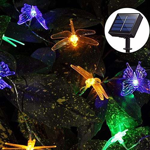 Solar String Lights Outdoor, Aukora 20 LED Solar Powered Butterfly Dragonfly String Lights Multi Color Fairy String Lights for Patio Lawn Flower Tree Garden Halloween Christmas Decoration, Ideal Gifts by Aukora