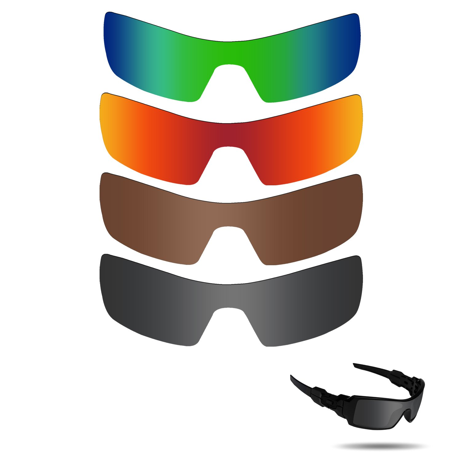 Fiskr Polarized Replacement Lenses for Oakley Oil Rig Sunglasses Polarized 4 Pairs Pack by Fiskr