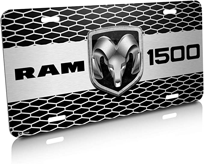 Made in USA RAM 1500 Truck Grill Graphic Aluminum License Plate