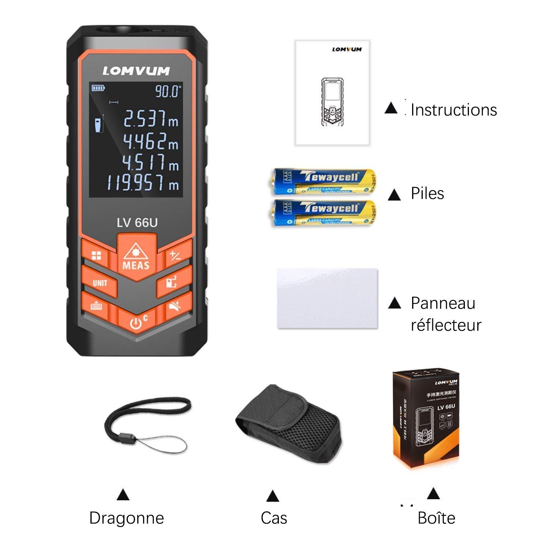 Télémètre, LOMVUM 393ft 120m Compteur de distance laser numérique avec fonction sourdine Grand écran LCD rétro-éclairé, Mesure de la distance, de la surface et du volume, mode Pythagore