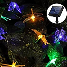 Solar String Lights Outdoor, Aukora 20 LED Solar Powered Butterfly Dragonfly String Lights Multi Color Fairy String Lights for Patio Lawn Flower Tree Garden Halloween Christmas Decoration, Ideal Gifts