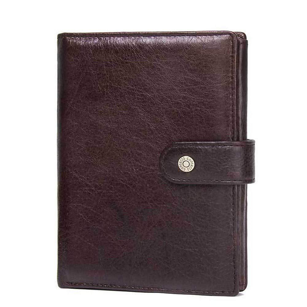 LMSHM Kurze Brieftasche Für Herren Männer Leder Brieftasche Große Kapazität Geldbörse Kartenhalter Bifold Kurze Münztasche,Kaffee,15  11,5  2 cm B07MNG7K2H Geldbrsen