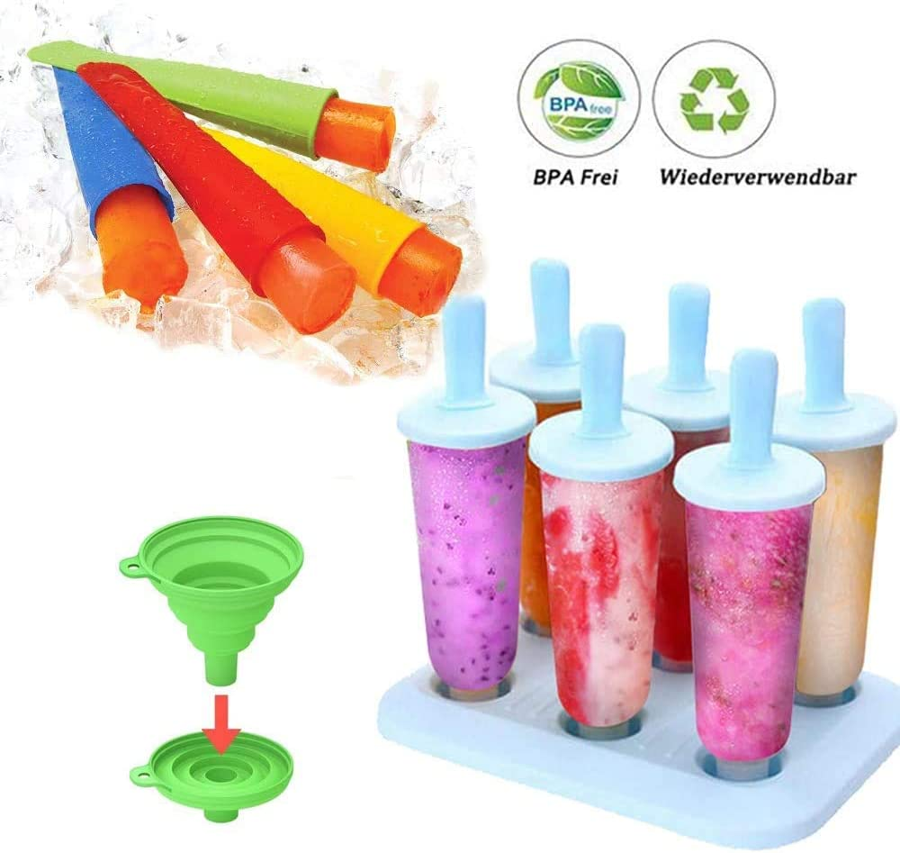 NEW RUICHENG Popsicle Molds, Ice Pop Molds Trays Homemade Popsicles Frozen Silicone Popsicle mould 11 Sticks BPA-Free Reusable Easy Release Ice Pop Maker Funnel Kids Ice Cream Tray Holder Lolly Pops