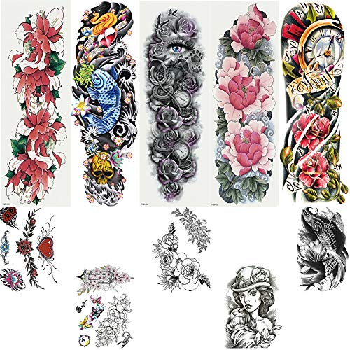 VICYUNS 5 Sheets Full Arm and 5 Sheets Half Arm Temporary Tattoos Stickers Mixed Packaging for Fake Body Arm Shoulder Neck Chest Back Leg Temporary Tattoos (Female 1)