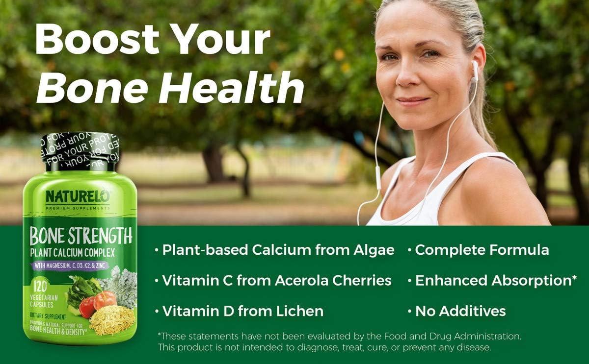 NATURELO Bone Strength - Plant-Based Calcium, Magnesium, Potassium, Vitamin D3, VIT C, K2 - GMO, Soy, Gluten Free Ingredients - Best Whole Food Supplement for Bone Health - 120 Vegetarian Capsules: Health & Personal Care