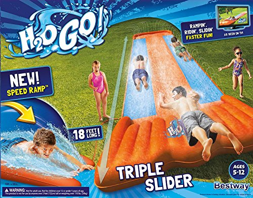 Bestway Two (2) H2O Go Triple Slider Kids Outdoor 3-Person Water Slides | 52200E by Bestway (Image #7)