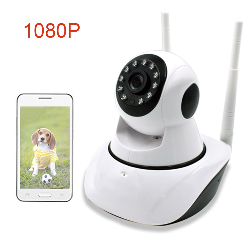 1080P Wireless IP Security Camera, Remote Control Home Video Monitoring Camera with Night Vision, Pan/Tilt, Two -Way Audio, Motion Detection