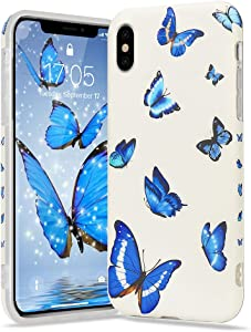 Urarssa Girls Case for iPhone Xr Case Cute Butterfly Pattern Design for Girls Women Shockproof Soft TPU Rubber Silicone Protective Case Cover for iPhone Xr, Blue