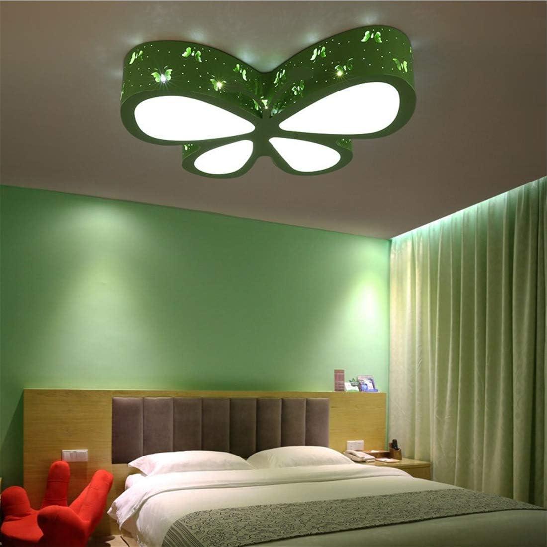 LHY LOFT Mariposa LED Infantil Plaf/ón,Infantil L/ámpara De Techo,Infantil Habitaci/ón Plaf/ón LED,Tallado Hueco Dise/ño Lado Glow L/ámparas Decorativas,Verde,A:50CM32W