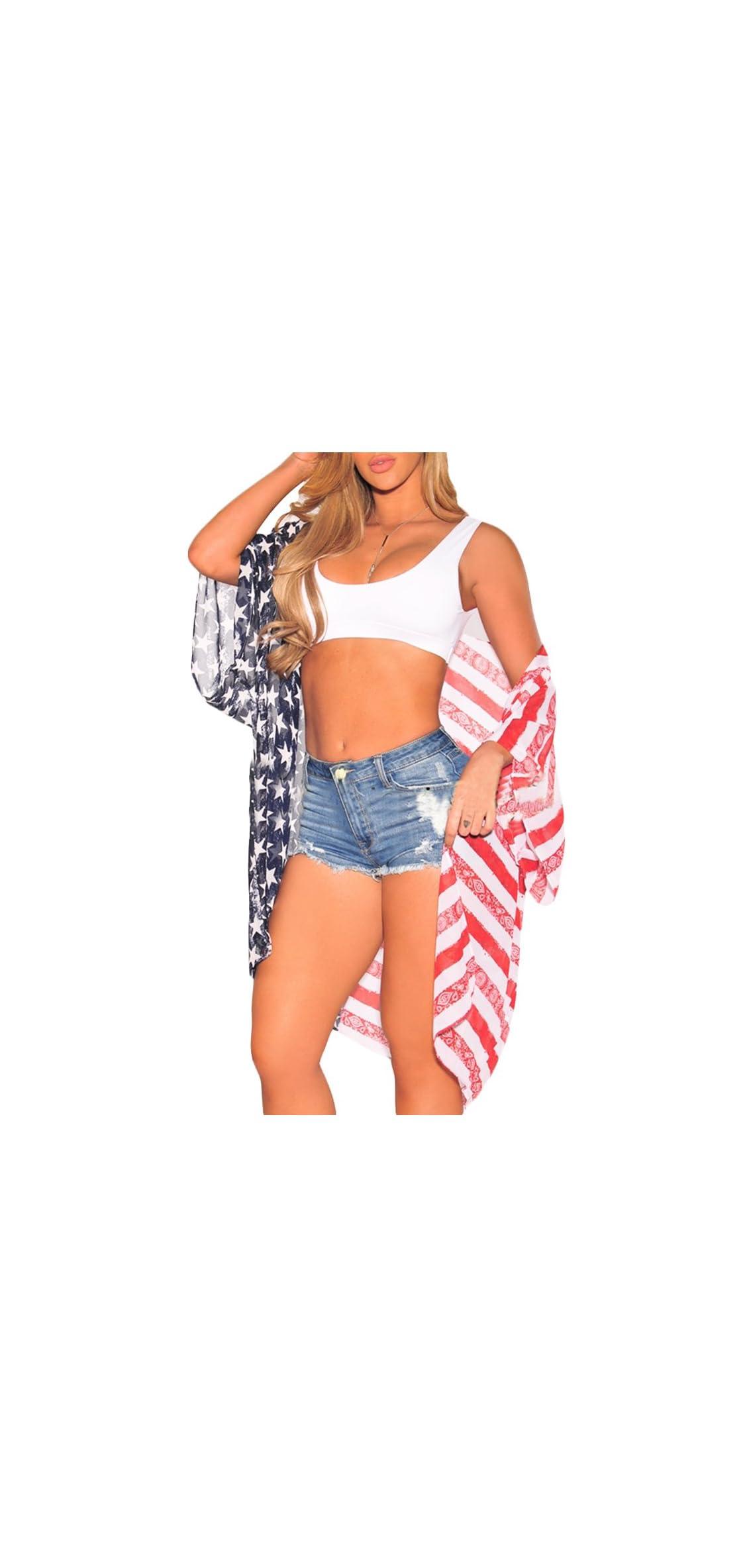 Women's American Flag Print July Th Cardigan