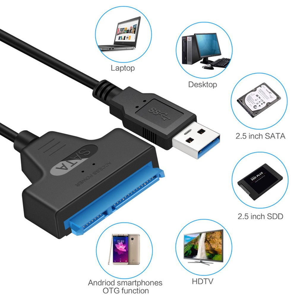GeekerChip SATA 50cm Adapter High Speed 5Gbps USB 3.0 zu SATA Kabel f/ür 2.5 Zoll Festplatten Laufwerke SSD//HDD Adapter SATA 3.0 Cable f/ür Mac OS//Windows//Linux