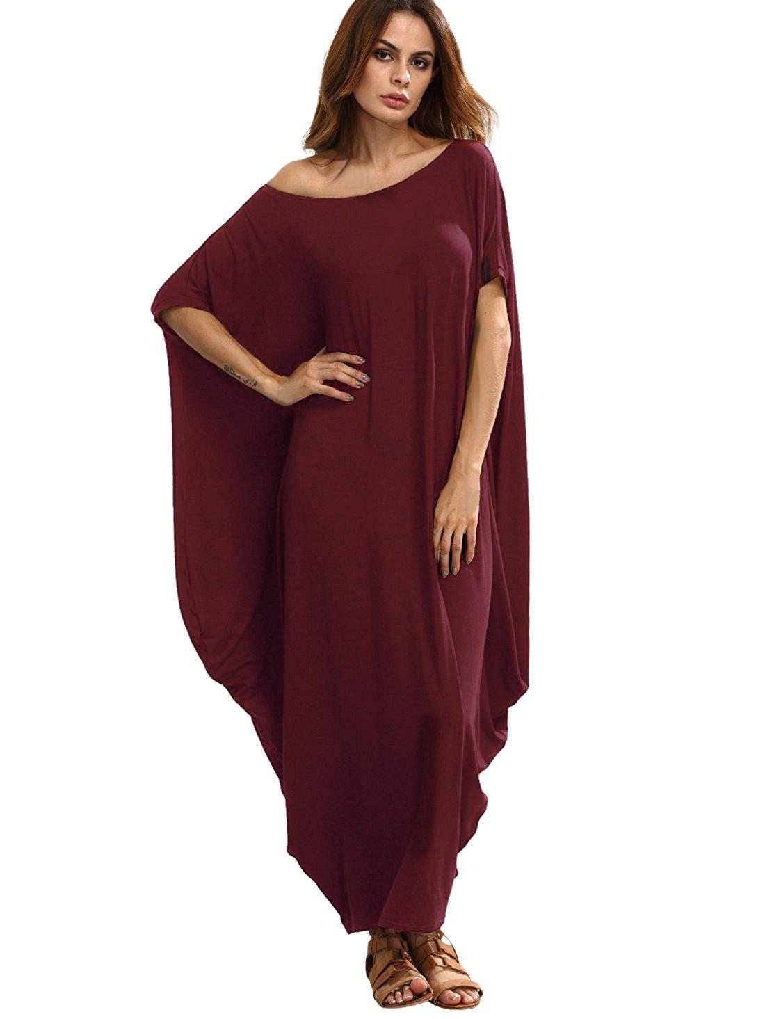 cffe3f296984 Galleon - Verdusa Women s Boho One Off Shoulder Caftan Sleeve Harem Maxi Dress  Burgundy XL
