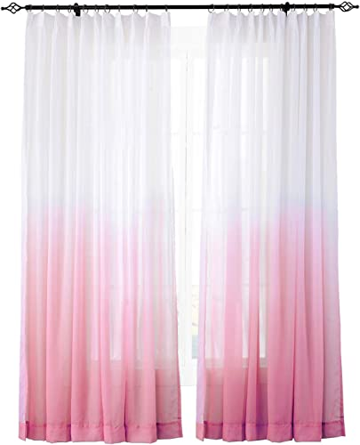 ChadMade Indoor Outdoor Gradient Ombre Sheer Curtain Pinch Pleat Rose 200 W X 96 L, Extra Wide Tulle Gradual Drapes 1 Panel