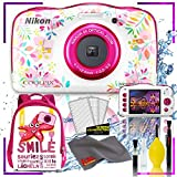 Nikon Coolpix W150 Digital Camera - Flowers (International Model) with Camera Cleaning Kit Bundle + Nikon Camera Backpack (Pink)