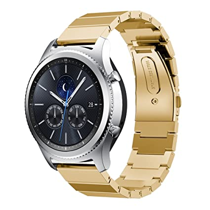 Gear S3 Frontier/Classic Band, AISPORTS 22mm Samsung Gear S3 Gold Stainless Steel Smart Watch Band Replacement Band Bracelet Buckle Clasp for Samsung ...