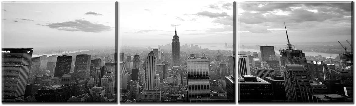 Amazon Com Jiazugo New York City Manhattan Midtown Skyline Wall Art Decor Modern Black And White Panoramic Cities Canvas Print Painting Artwork For Bedroom Living Room Office Home Framed Decorations Posters