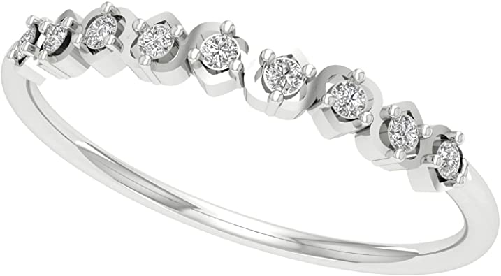 Black Diamond Half Eternity Band 925 Sterling Silver Stackable Band 0.07Ct