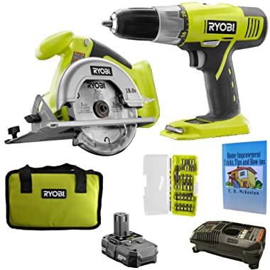 Ryobi P825 Cordless Starter Kit Bundle, 18-Volt ONE+ with Drill/Driver, Circular Saw, Battery, Charger, Tool Bag, 18 Piece Drill Bit Set and Home Improvement Book