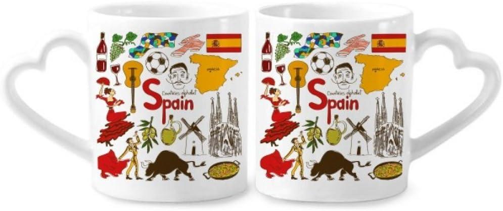 DIYthinker cerámica Copas Amante del Regalo del corazón manija 12 oz españa landscap Animales de la Bandera Nacional de los Pares de café: Amazon.es: Hogar