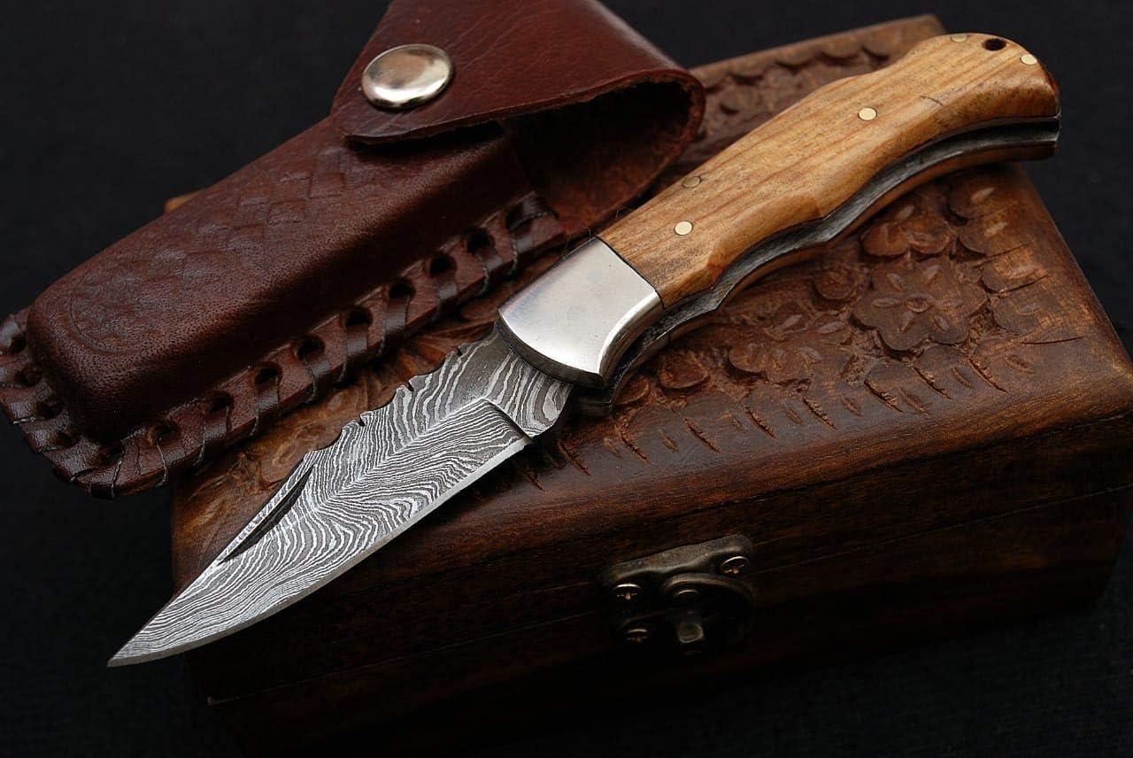 Noshra Wholesale 6.5 Olive Wood Handle Damascus Steel Folding Top Lock Pocket Knife