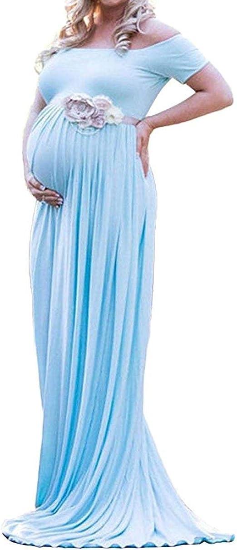 Robe Enceinte Photographie Longue Ete Pour Femme Enceinte Epaule Denude Avec Manches Courte Couleur Fraichement Amazon Fr Vetements Et Accessoires