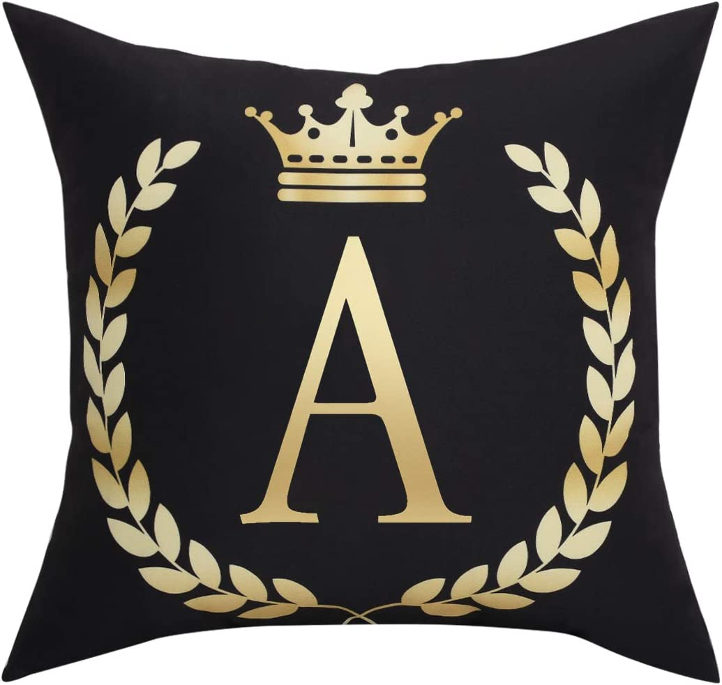 Black Pillow Cover Throw Pillow Case English Alphabet A Throw Pillow Case Modern Cushion Cover Square Pillowcase Decoration for Sofa Bed Chair Car 18 x 18 Inch