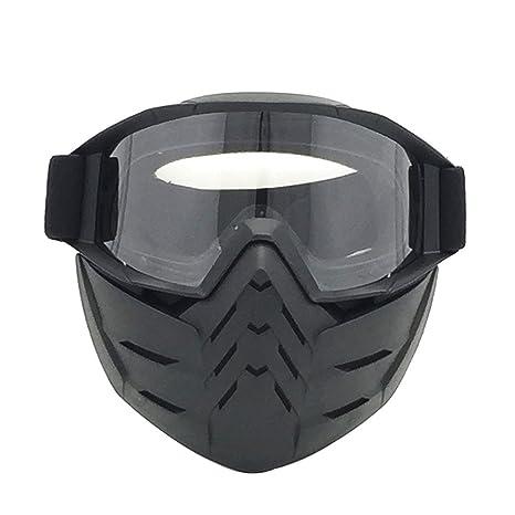 motorcycle Face Mask staccabile con occhiali e bocca filtro integrale motocross antivento occhiali, Silver