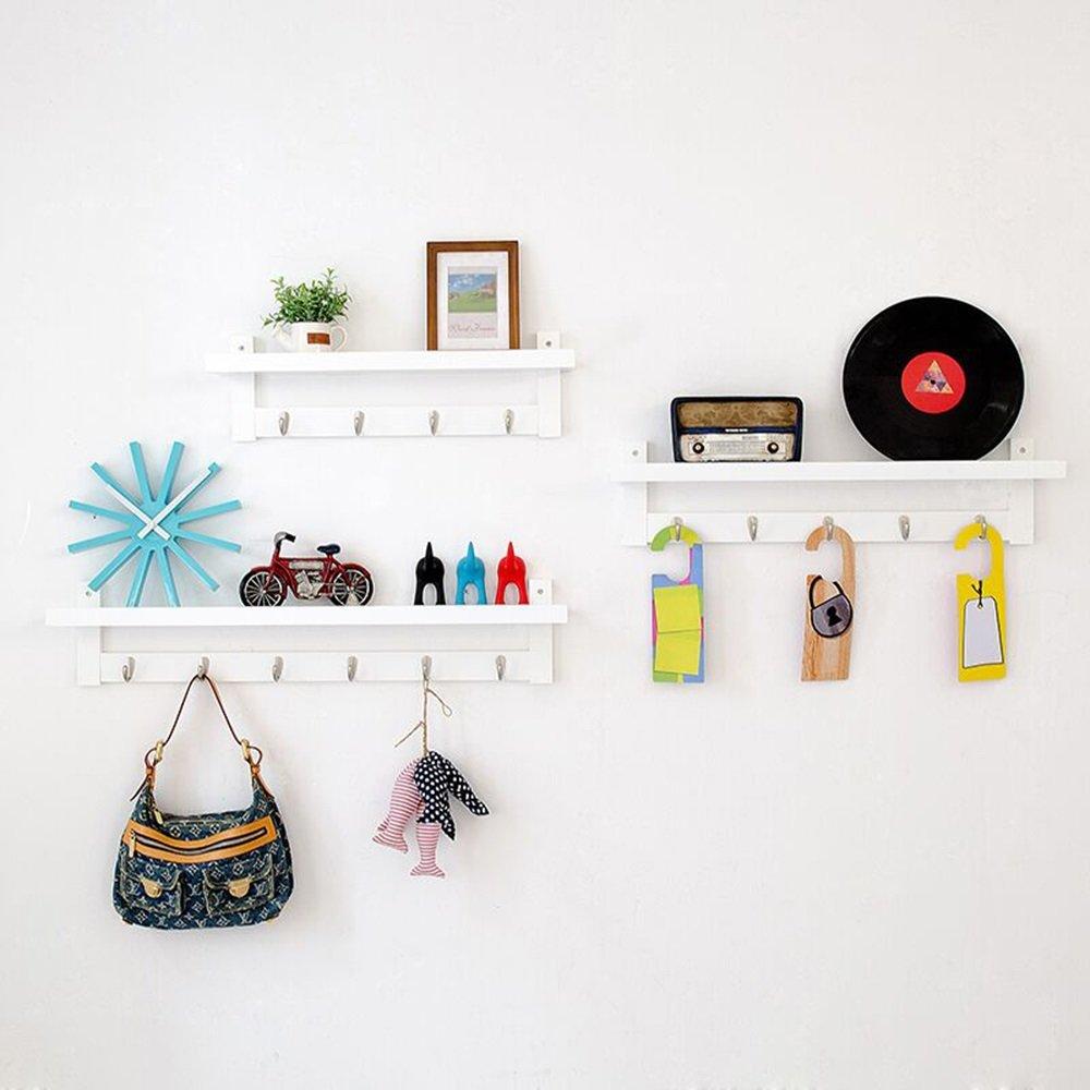 Unbekannt Feifei Kleiderbügel Kleiderständer Massivholz Kombination Wandregale Dekorrahmen Veranda Kleiderhaken stabil und langlebig (Farbe : Weiß)