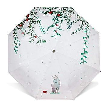 Mkulxina Pequeño Parasol Fresco Tres Plegables Paraguas para Gatos Protección Solar Sombrilla Creativa (Color : White): Amazon.es: Equipaje