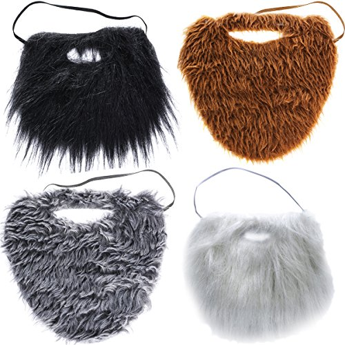 Tigerdoe Fake Beards for Adults Kids - Costume Accessories - Beard & Mustache - Fake Mustaches (4 Pack Costume Beards) -
